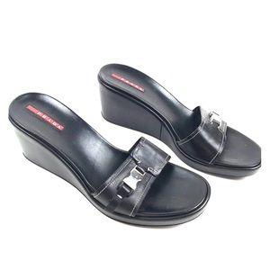 Prada 39 Leather Sport Slide Wedge Sandals Slip On